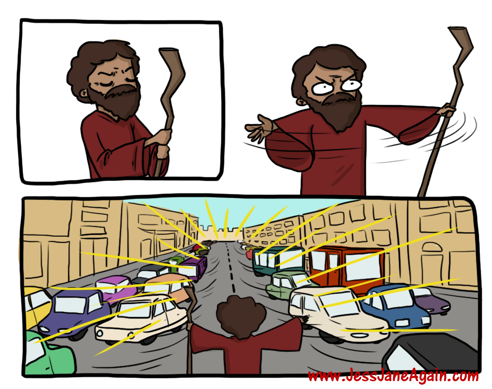 Moses parting the modern Red Sea of traffic